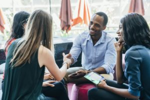 networking at a coworking space